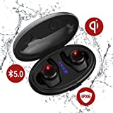 True Wireless Earbuds with Qi-Enabled Wireless Charging Case,Tiamat Thor II?New?Bluetooth 5.0 Sports Headphone, Cozy Wireless Headsets with Mic, IPX6 7 Waterproof Long Lasting Earbuds (Color: Upgrade TWS 5.0 Wireless Charging Case Version, Tamaño: Upgrade TWS 5.0 Wireless Charging Case Version)