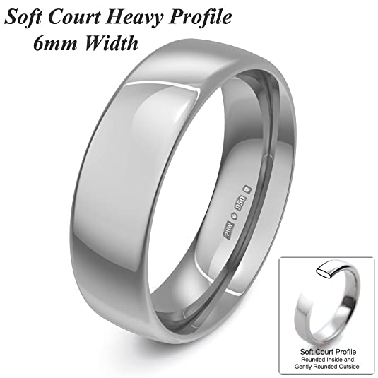Xzara Jewellery - Palladium 950 6mm Heavy Court Profile Hallmarked Ladies/Gents 6.4 Grams Wedding Ring Band