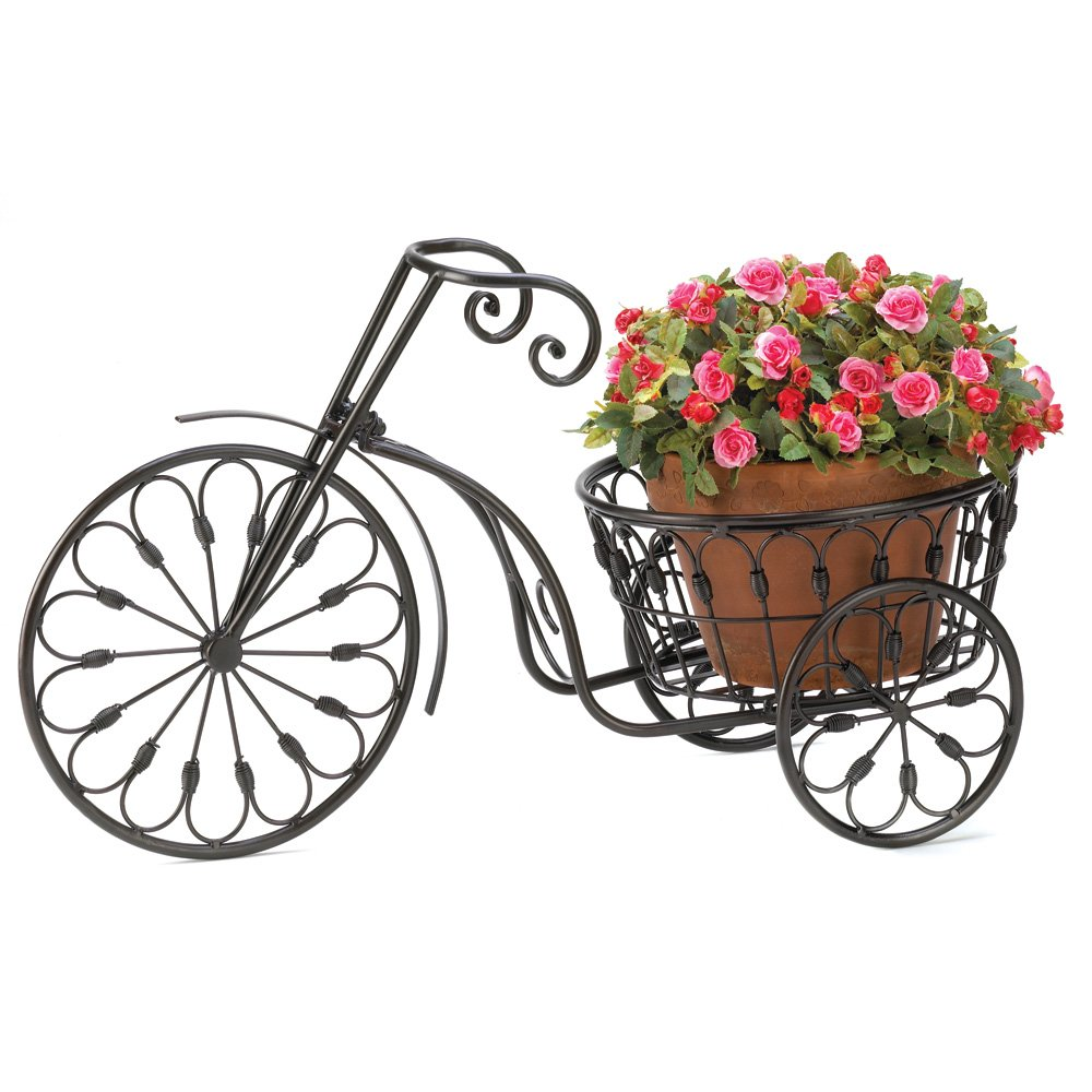 Flower Pots - Terra Cotta Pot in a Wrought Iron Tricycle