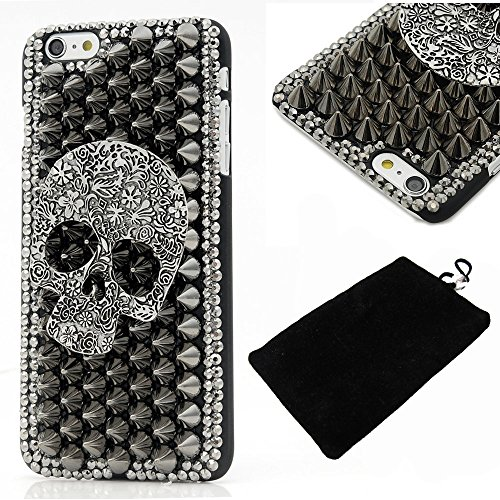 6s Plus Case,Iphone 6s Plus Case - LU2000 3D Cool Skull with Special Pyramid Studs and Spikes Rivets Design Hard Cover Black PC Case for Iphone 6/6s Plus(5.5'') with Phone Velvet Pouch (Cool Skull)