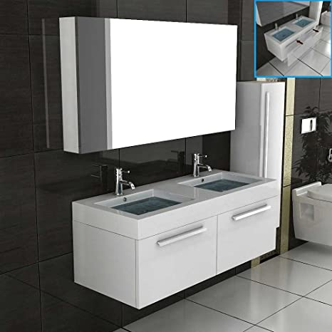 Double Wash Basin Bathroom Furniture Set with Mirror Cabinet White high gloss cabinet with A Soft Close function Komplettprogramme Vanity Mirror Shelf Unit