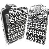StyleBitz /étui à rabat pour Nokia Asha 200 - 201, design tribal, vintage, retro, avec chiffon de nettoyage conçu en exclusivité par StyleBitz (noir & blanc)