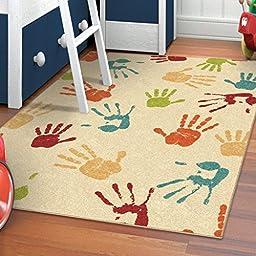 Orian Rugs Kids Thankful Hands Ivory Area Rug (5\'2\