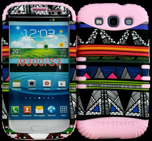 Hybrid Impact Rugged Cover Case Colorful Tribal Aztec Pattern Hard Plastic Snap On On Baby Pink Skin For Samsung Galaxy Slll S3 Fits Sprint L710, Verizon I535, At&T I747, T-Mobile T999, Us Cellular R530, Metro Pcs And All front-935527