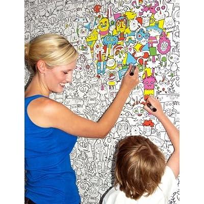 Colour In Burger Wallpaper For Kids By Jon Burgerman Burgerplex by Burgerplex