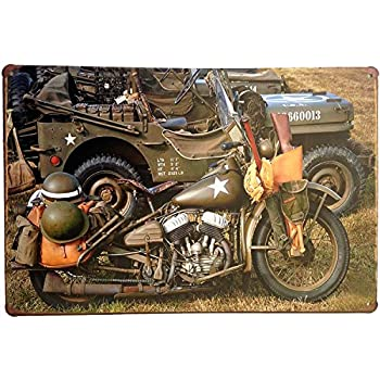 "ERLOOD War Cars Motorcycle Vintage Home Decor Wall Tin Sign 12"" X 8"""