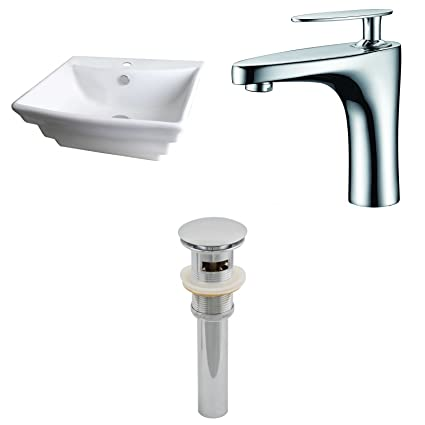 """American Imaginations AI-15363 Rectangle Vessel Set with Single Hole CUPC Faucet and Drain, 20"""" x 18"""", White"""
