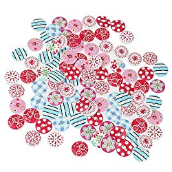 Magideal 100pcs Mixed Color Drawing Round Wooden Buttons for Sewing DIY Craft 15mm