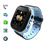 Kids' Smart Watches can Make Calls and Send Voice, SOS Alarms and LBS Positioning Functions. This is The Best Gift for The Children. (Blue) (Color: blue)