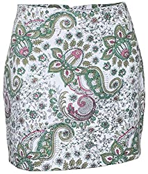 Attuendo Women's Organic Cotton Canvas Floral Printed Miniskirt (X-Large)