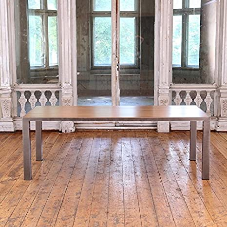 Table à manger en chêne de style industriel, Beige, Silver, 6 seater W150xD75xH75cm