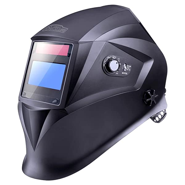 Welding Helmet with Top Optical Class 1/1/1/1, Full Shade Range 3/4-8/9-13, UV/IR Protection DIN 16, 6Pcs Replacement Lenses, Protecting Bag, Grinding Feature for TIG MIG MMA Plasma - PAH04D (Color: Black, Tamaño: View Area - 3.86 x1.69)