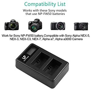 LP NP-FW50 LCD Dual Charger, Compatible with Sony A3000, A5000, A5100, A6000, A6300, A6500, A7, A7II, A7SII, A7S, A7S2, A7R, A7R2, A7RII, A55, RX10, RX10II, RX10 III, RX10 IV and More (Tamaño: LCD Dual Charger)
