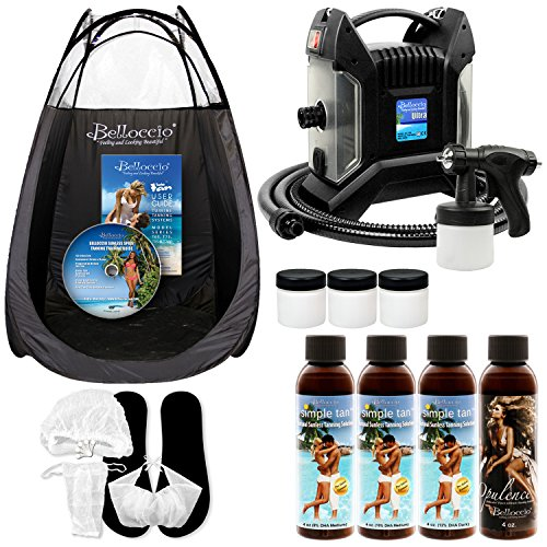 Complete Turbo Tan Ultra Pro (Model T85-QC with a Quick-Connect Gun and Hose) Professional High Performance Sunless HVLP Turbine Spray Tanning System with a Simple Tan Professional Salon Sunless Tanning 4 Solution Variety Pack plus a Tanning Tent, Accessories Kit and 3 Extra Cups (Spray Gun Tan compare prices)