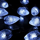 M&T Tech 30 LED Strawberry Solar Powered Garden String Fairy Lights For Outdoor Party Patio Lawn Fence pergolas Christmas-White