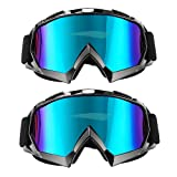 CarBoss Outdoor Goggles/Motorcycle Sunglasses, 2 Pack Anti-dust Fit Over Glasses Helmet Motorbike Motocross, Dirt Bike Cycling, ATV Racing Safety Goggles for Men & Women, Youth - 100% UV Protective (Color: Black)