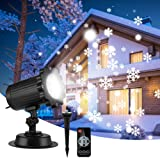 Christmas Projector Lights Waterproof Outdoor Snowflake LED Landscape Spotlights Rotating Snowfall LED Projector Lamp with Remote Control for Xmas Halloween Party Wedding Garden Indoor Outdoor Decor (Color: Snowflake Light)