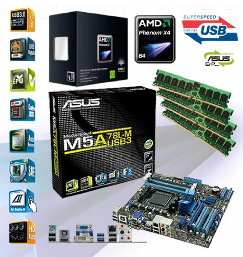 ADMI AMD Phenom X4 965 Quad Core 3.4GHz – Asus M5A78L-M USB3 HDMI Motherboard – 4GB DDR3 Memory Bundle ***PRE-ASSEMBLED & TESTED by ADMI***