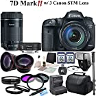 Canon EOS 7D Mark II Digital SLR Camera With Canon EF-S 18-135mm f/3.5-5.6 IS STM Lens & Canon EF-S 55-250mm F4-5.6 IS STM Lens & Canon EF 40mm f/2.8 STM Lens & CS Pro Kit: Includes High Definition Wide Angle Lens, Telephoto HD Lens, 3 Piece HD Filter Kit ,4 Piece Macro Close-up Set, 2x High Speed 32GB SDHC Memory Cards, SD Card Reader, Memory Card Wallet, Carrying Case, Full Size Monopod, Canon LPE6 Replacement Battery, Rapid Travel Charger, Lens Cap Keeper, Shoe Mount Flash, Brush Blower, Cleaning Kit, Lens Pen & CS Microfiber Cleaning Cloth