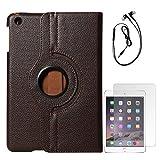 DMG Full 360 Rotating Cover Case For Apple Ipad Mini 3 (Brown) + Black Earphones + Matte Screen