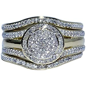 Amazon Wedding Ring Set 3 Piece 033ct W Round Halo Engagement Ring And 2 Band Matching