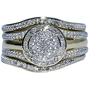 Amazon.com: Wedding Ring set 3 piece 0.33ct w Round Halo