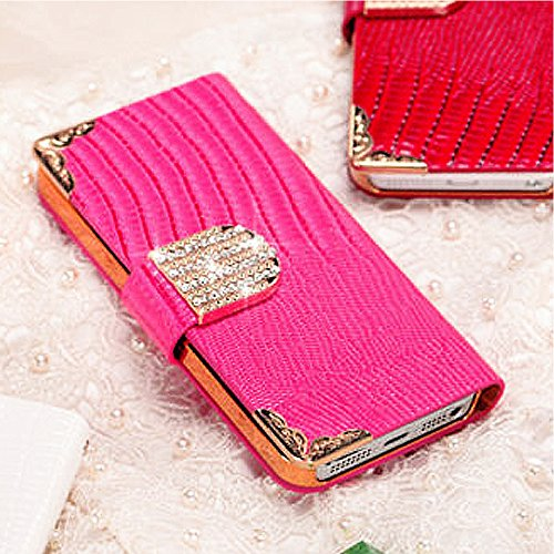 Mylife Berry Pink - Chrocodile Design - Textured Koskin Faux Leather (Card And Id Holder + Magnetic Detachable Closing) Slim Wallet For Iphone 5/5S (5G) 5Th Generation Itouch Smartphone By Apple (External Rugged Synthetic Leather With Magnetic Clip + Inte