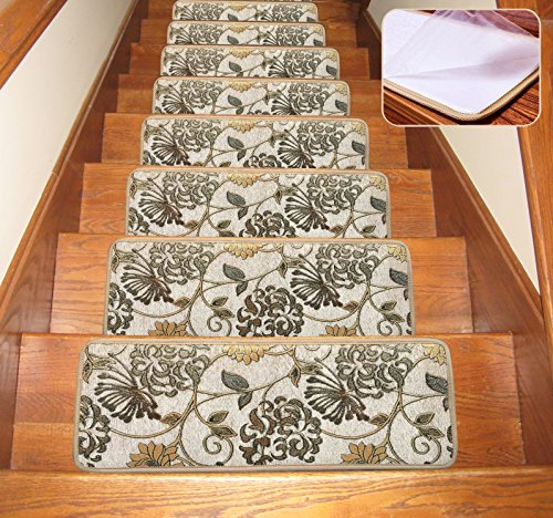 Non Slip Stair Treads Carpet Blended Jacquard Indoor Skid ...