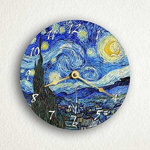 The Starry Night Van Gogh 6 Silent Wall Clock (Includes Desk/Table Stand)