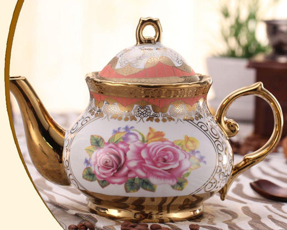 ufengkeWedding Birthday 13 Piece Gold Red Flower European-Style Chinese Ceramic Tea Set Tea Service 3