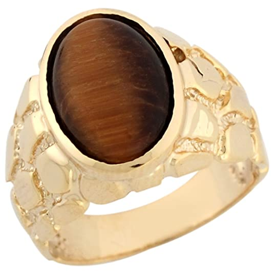 9ct Solid Yellow Gold Oval Tigers Eye Nugget Attractive Mens Ring
