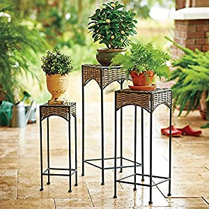 Amazoncom resin wicker nesting tables set of 3 patio for Outdoor patio nesting tables
