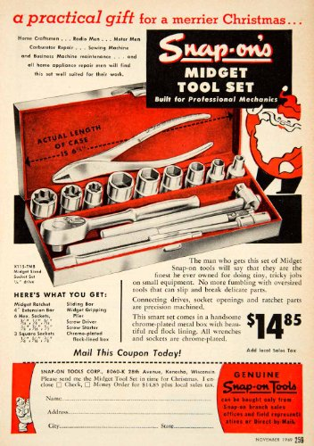 1949 Ad Snap-On Tools Midget Tool Set Ratchet Socket Advertisement Santa Claus - Original Print Ad