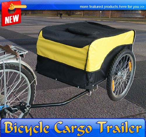 Frugah New Steel Frame Bicycle Cargo Trailer Cart Carrier Yellow and Black Trailers