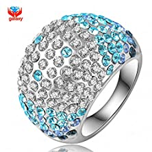 buy Strawberry Generation New Trendy Blue Crystal Wedding Rings For Women With 18K White Gold Filled Fashion Jewelry Ring Size 6 7 8 9 10 11 Yh051