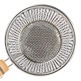 """Stainless Steel Food Strainer Colander With Wooden Hook Handle - As Noodle Pasta Strainer Steaming Basket - Best For Rinsing Pasta, Noodles,Fruits,ParBoiling-Fits Most Pots,Easy To Clean - Durable Solid Steel Frame -6.3"""" Top Diameter,4.7"""" Bottom"""