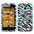 MYBAT TUFF Hybrid Phone Protector Cover for Alcatel 7024W One Touch Fierce - Retail Packaging - Zebra Skin/Tropical Teal