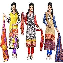 ZHot Fashion Women's Printed Un-stitched 3 Combo Dress Material In Cotton Fabric (ZH08-18-21) Multi