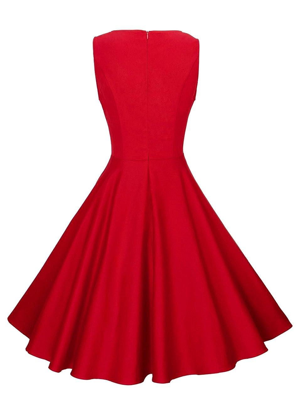 Anni Coco Women's Classy Audrey Hepburn 1950s Vintage Rockabilly Swing Dress 2
