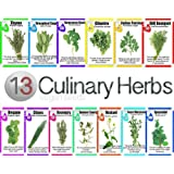 Veganseeds Culinary Herb Set - 13 Packets of High Quality Seeds -Culinary Sage, Rosemary , Oregano, Italian Parsley, Cilantro, Thyme, Dill Bouquet, Mustard, Chives, Marjoram, Summer Savory Spearmint & Sweet Basil