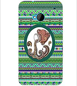 PrintDhaba Tribal Pattern D-3013 Back Case Cover for HTC ONE M7 (Multi-Coloured)