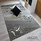 Moderner Designer Teppich mit Glitzereffekt Edel Elegant in versch Größen in Grau – Top Qualität und Sehr Pflegeleicht, Maße:160 cm x 230 cm