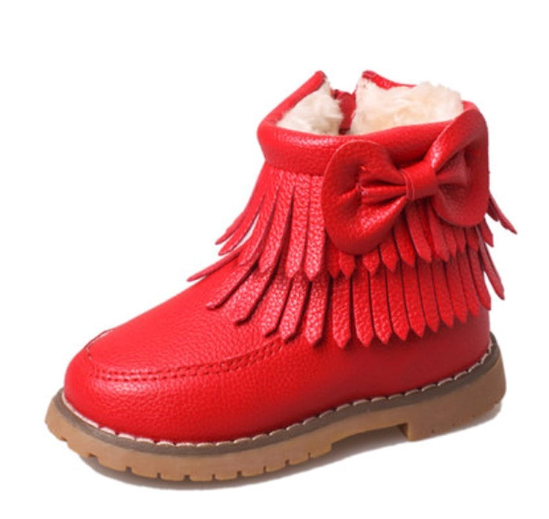 Schöne Bow Tassel Winter warm Anti-Rutsch PU Stiefel snow boots/Schneestiefel Kinder-Schneeschuhe Jungen Stiefel Mädchenbaumwollstiefel Kinder warmen Baumwollstiefel Fashion Kinder Schuhe günstig