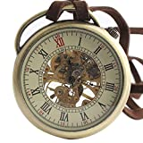XLORDX Classic Antique Roman Half Hunter Stainless Steel Hand Wind Mechanical Pocket Watch Long Strap