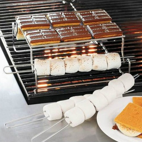 Stainless steel smores grill rack platform and skewers