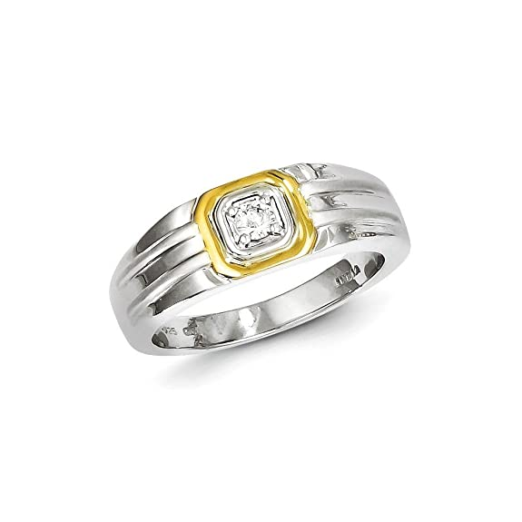 Sterling Silver with 10k Gold Diamond Men's Ring