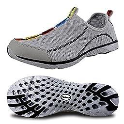 FEETMAT Men\'s Outdoor Walker Quick Drying Water Shoes,gray,7 D(M) US
