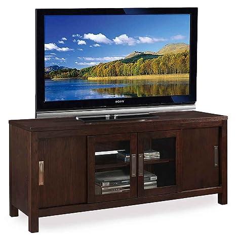 Sliding Door TV Console in Chocolate Oak Finish