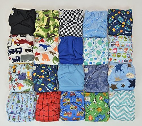 20 Pack Pocket Cloth Diapers with 40 Inserts (2 Inserts Per Diaper)-boy Pack