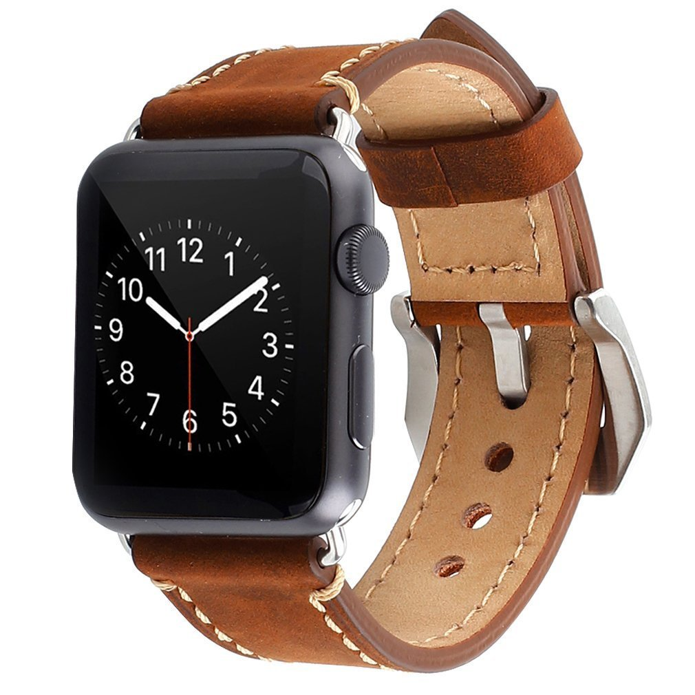 Apple Watch Band, 42mm iWatch Strap Premium Vintage Crazy Horse Genuine Leather Replacement Watchband with Stainless Metal Clasp for All Apple Watch Sport Edition (42mm Brown) 0